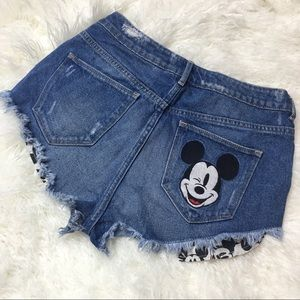 Mickey Mouse Disney Embroidered Distressed Shorts